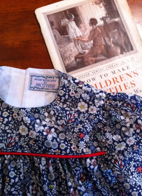 "A girl's smock dress from 1965... Liberty ""meadow"" tana lawn fabric"