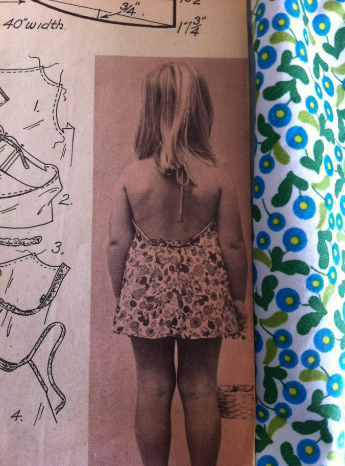 The back of the halter sun dress as featured in the pattern book