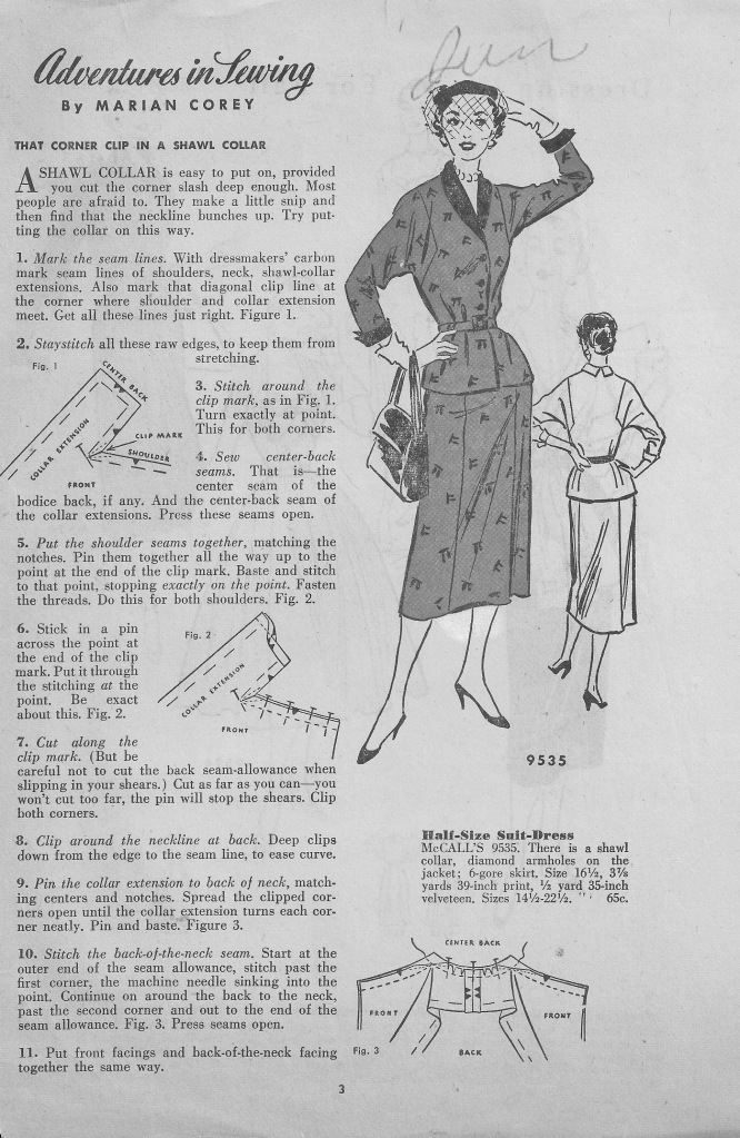 Marian Corey's tips on the popular 50s shawl collar... extracted from a 1950s (1953)? leaflet.