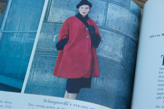Feautured in a 1950's Vogue magazine, this coat by Schiaparelli showcases some gorgeous pocket details. Incidentally, the coat was made into a Vogue Paris Original model
