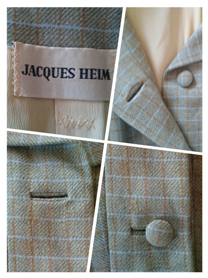 An early to mid 1960s, plaid jacket with bound buttonholes, silk lining and catch stitched label